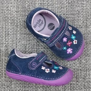 Stride Rite Tonia Suede Floral Mary Janes Size 3M